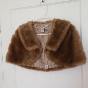Faux fur dress coat shoulder cape small Eliza J